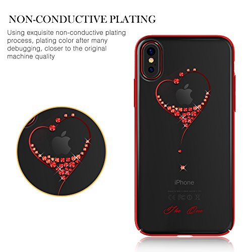 """Kingxbar for iPhone 8 Plus/7 Plus Coque, Cair Cristaux de SWAROVSKI Element Anti Scratch Anti poussière avec 1mm Ultra Mince PC dur Transparent Housse Etui for 5.5"""" iPhone 7/8 Plus((Net-Black)) Love-Red"""