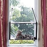 LS Katzenhängematte Katzebett Fenster Fensterplatz Haengematte Katzenbett Katzen Betten Sonnenschein (Doppelt, Grau)