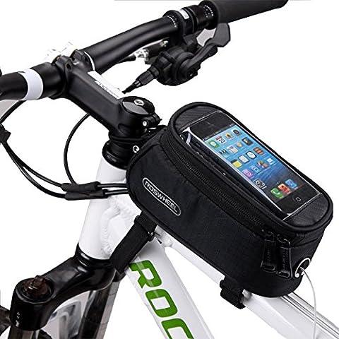 DCCN bicicletta della bici anteriore Telaio Superiore manubrio Borsa /Custodia /Sacchetto per 5.5 pollice smartphone mobile iPone 6 / 6s / 6 plus - nero