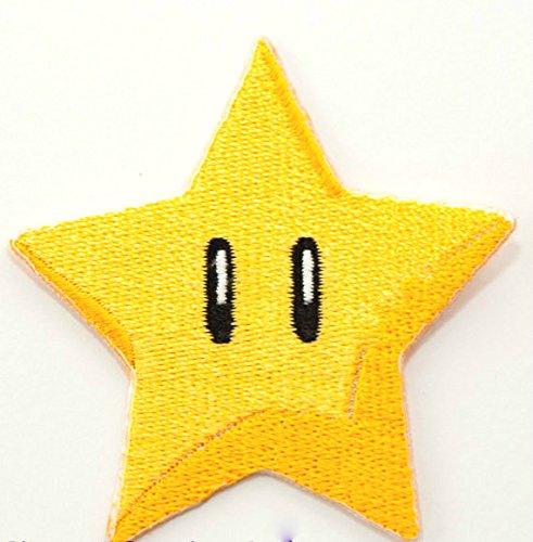Gold Star Patch Power Up gesticktes Eisen auf Abzeichen Aufnäher Kostüm Cosplay Mario Kart/SNES/Mario World/Super Mario Brothers/Mario ()