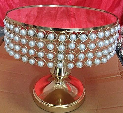 Generic Support de décoration pour fête de Mariage avec Perles dorées et Cristaux dorés
