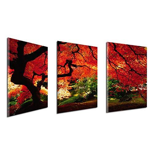 Schlafzimmer Ahorn Schlafzimmer-set (YULXS 3 Stück Set Ahorn Ölgemälde Thema Rahmenlose Leinwand Wandbild Home Decoration Schlafzimmer Wohnzimmer Dekorative Malerei,001)