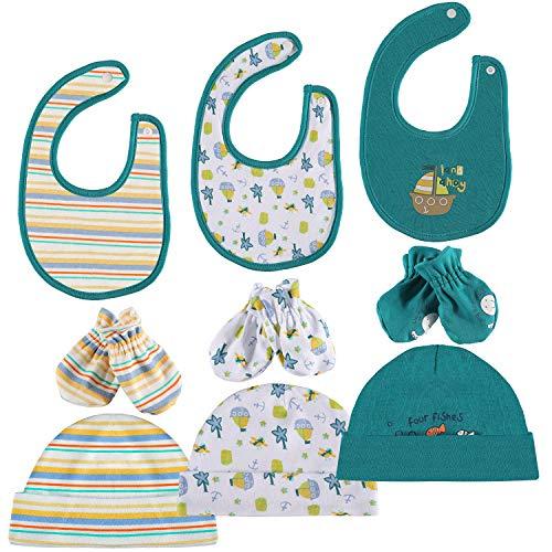 Baby Mütze Lätzchen Handschuhe 100% Baumwolle 3 Babylätzchen 3 Säugling Mützen 3 Paare Fäustlinge Geschenk für Neugeborene Unisex (Mütze Fäustlinge)