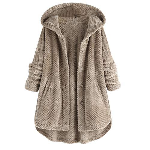 GOKOMO Pullover Große Größen Damen Frauen Fleece unregelmäßige Langarm Knopf Tasche Kapuzenmantel(Grau,X-Large)