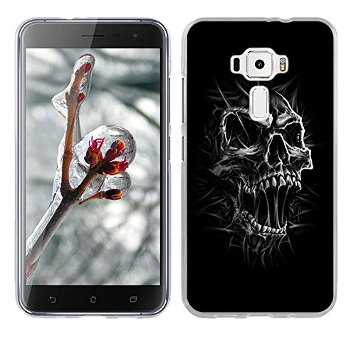 Black Skull Crystal Case (Fubaoda ASUS Zenfone 3 ZE520KL 5.2 Case [Black and White Skull Head] TPU Cases Crystal Back Cover Protector Full Protection Protective for ASUS Zenfone 3 ZE520KL 5.2-Anti Slip Scratch Resistant)