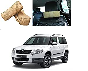 Millionaro BEIGE Car Seat Head Neck Rest Cushion Pillow Pad Headrest Relax for Skoda Yeti-Set of 2