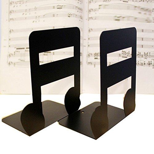 Ein Paar massive Buchstützen aus Metall in Form von Notenschlüsseln, als Buchstützen für Kinder oder Musikliebhaber oder als Dekoration für ein schönes Zuhause oder Ihr Büro Semiquaver