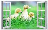 DesFoli Küken Enten 3D Look Wandtattoo 70 x 115 cm Wanddurchbruch Wandbild Sticker Aufkleber F102