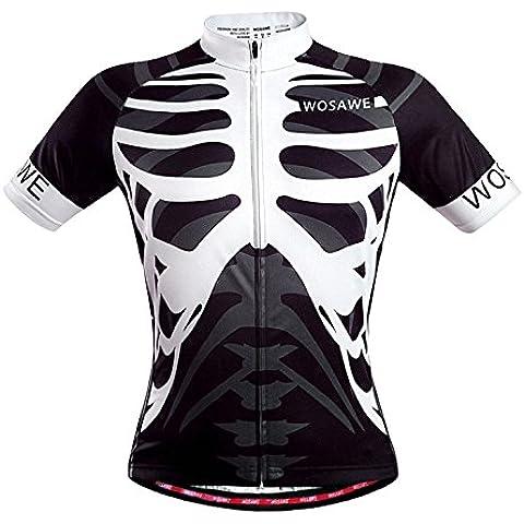 WOSAWE Mens Ciclismo bicicleta carretera de montaña de Jersey manga corta camisa moto ropa esqueleto -