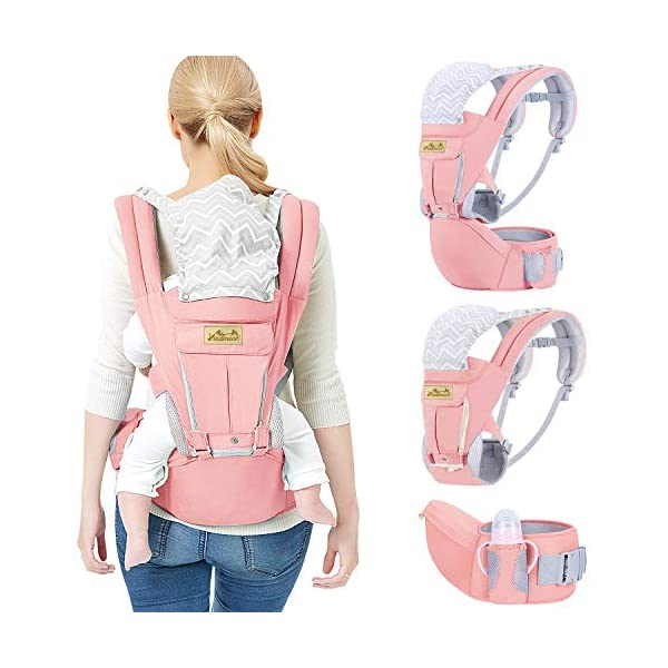 Viedouce Baby Carrier Ergonomic for Newborn,Pure Cotton Front Back Child Carrier with Detachable Hood Multi-Position Soft Backpack Carrier,Complete Safety Protection(0-48 Months) (Pink) Viedouce 【More environmentally friendly】-Baby carrier has high quality pure cotton fabric with 3D breathable mesh take care of your health and the health of your baby; The detachable sun visor and wind cap provide warmth in the winter and freshness in the summer. At the same time, the zipper buckle is designed for easy disassembly and cleaning. 【More ergonomic】 -Baby carrier for newborn has an enlarged arc stool to better support the baby's thighs, the M design that allows the knees to be higher than the buttocks when your baby sits, is more ergonomic. 【Comfort and safety】 - The area near the abdomen is filled with a soft and thick sponge, reduces the pressure on the abdomen and gives more comfort to you and your baby. High quality professional safety buckles and attach, shock absorbing pads, are equipped to protect your baby. 4