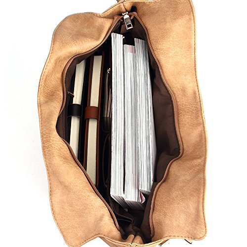 CASELAND Damen Schultertasche Henkeltaschen für Frauen PU Leder Tote Damen Henkeltasche Grosse Kapazität Hobo Henkeltaschen (L:31CM * H:36CM * W:15CM) Khaki