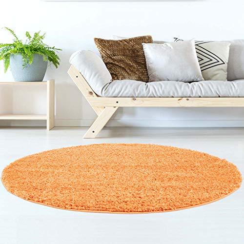 Hochflor Teppich   Shaggy Teppich fürs Wohnzimmer Modern & Flauschig   Läufer für Schlafzimmer, Esszimmer, Flur und Kinderzimmer   Langflor Carpet orange 120x120 cm rund (Runde-teppich Orange)