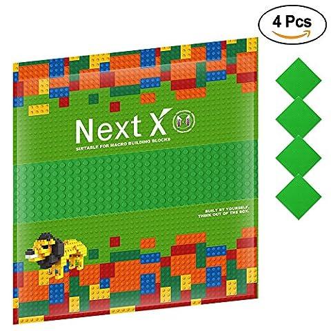 NextX 4 Stück Grundplatte für Classic Bausteine Plastik Bauplatte 25 x 25 cm - Grün