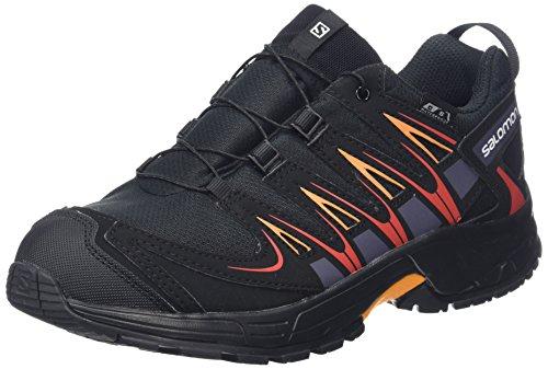 Salomon Kinder XA Pro 3D CSWP Trailrunning/Outdoor-Schuhe, Schwarz/Rot (Black/Black/Fiery Red), Gr. 37