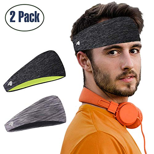 COOLOO-2-Pack-Mens-Headband-Guys-Sweatband-Sports-Headband-for-Men-Women-Unisex-Performance-Stretch-Moisture-Wicking-for-Running-Work-Out-Crossfit-Gym-Tennis-Basketball