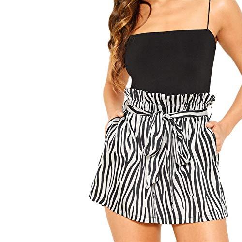 DBLSHA Schwarz Und Weiß Belted Frilled Trim Taille Zebra Print Shorts Frauen Hohe Taille Lose Beiläufige Bottom Sommer Shorts -