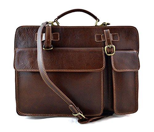Cartella pelle uomo donna valigetta 24 ore borsa pelle a mano e tracolla borsa ufficio borsa spalla marrone opaco
