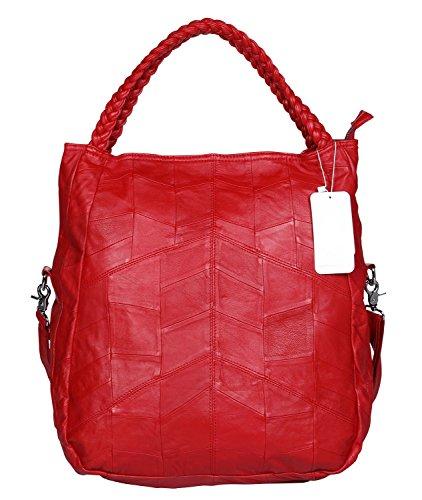 VIDENG POLO Frau Ziegenfell Leder Tote Handtasche Hobo Crossbody Umhängetasche Satchel für Damen (Rot-groß) (Rote Leder-hobo)