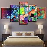 HD Immagini astratte su Tela modulare Poster 5 Pezzi Animali Elefante Colore Graffiti Pittura Decorazione della Parete di casa Stampe d'Arte