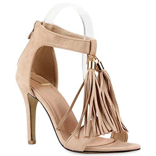 Damen High Heels Quasten Lederoptik Klassische Sandaletten Nude
