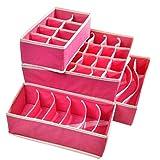 #7: House of Quirk Set of 4 Foldable Storage Box Drawer Divider Organizer Closet Storage for Socks Bra Tie Scarfs - Pink