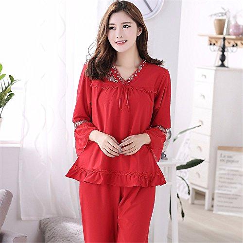 primavera e autunno stagione a maniche lunghe cotone rosso quanto riguarda l'abbigliamento da notte, l'autunno e l'inverno a casa vestito red c