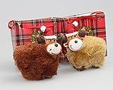 Kamaca 4 Set (=4 Stück) Rentiere/Elche - Echte Freunde - in Geschenktasche - wunderschöne handbemalte Keramik - mit Kunstfell - richtig lustige Dekoration für Herbst Winter Advent und Weihnachten