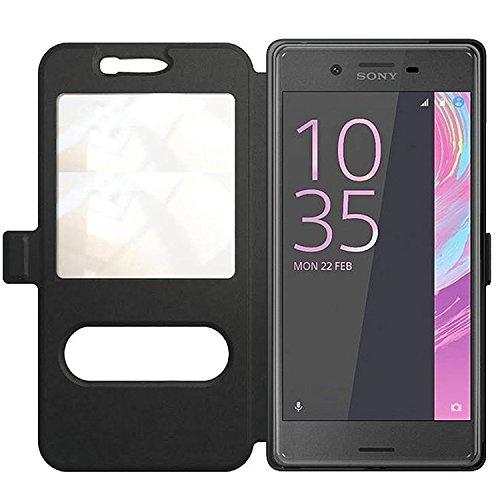 Flip Cover Handytasche Tasche Sony Xperia X Compact Xcompact Bookstyle Case Wallet Etui Magnettasche Schwarz + Gratis Displayschutzfolie Panzerfolie Original q1® Markenware