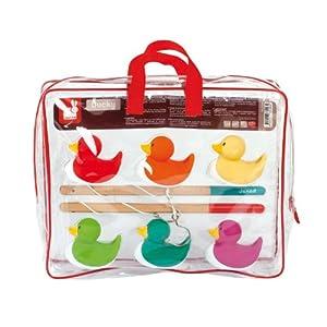 Janod – Juego de Pesca – Patos Ducky Multicolor – 6 Patos + 2 Cañas de Pescar Para Llevar a Todas Partes – Para Jugar En…