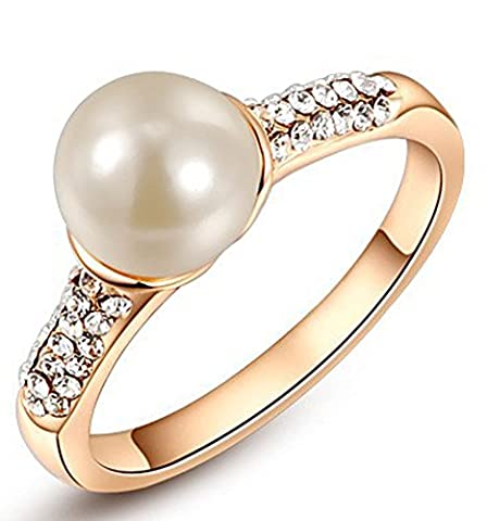 SaySure - Elegant Imitation Pearl Rings For Women (SIZE : 8)