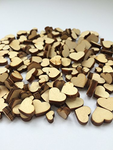 Image of [Heart Shaped] Wooden Embellishments - Mixed Mini Scrapbooking Shapes for Craft