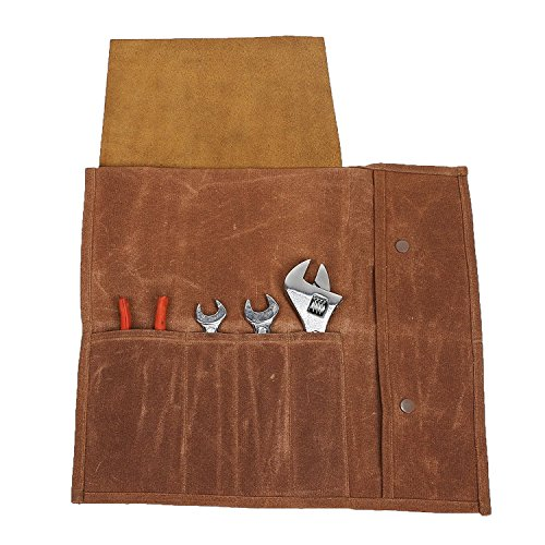 QEES Handgefertigt Messertasche Kochtasche Aus Segeltuch Gewachst Wasserdicht Rolltasche 4 Fächer Unisex für Damen und Herren Aufbewahrungstasche für Köche Odnungstasche DD08