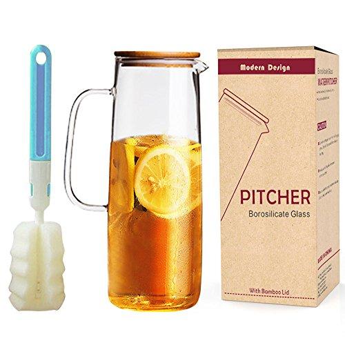 DOKEFUL Borosilikat Glas Krug 1,1 L/38OZ Wasser Glas Karaffe mit Deckel aus Bambus Kühlschrank aufbewahren perfekt für Homemade