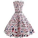 BringBring Damen Vintage 1950er Jahre ärmelloses Land Kleid Hepburn Cocktailkleid (L, Red)