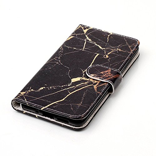 Huawei P10 Lite Case Leather [Cash and 3 Card Slots], Cozy Hut Premium Retro Marble Embossed Patterned PU Leather Stand Function Protective Cases Covers with Card Slot Holder Wallet Book Design Magnetic Closure Secure Lock Case for Huawei P10 Lite - Gold black marble