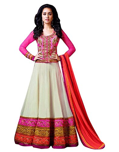 Surat Tex Cream & Magenta Color Party Wear Embroidered Georgette Semi-Stitched Anarkali Suit-H929DL3AO  available at amazon for Rs.1049