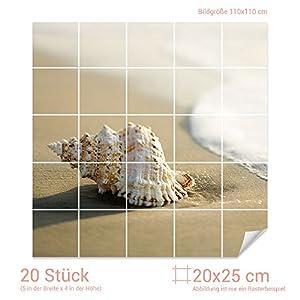 GRAZDesign Fliesenaufkleber Muschel/Strand für Kacheln Bad-Fliesen mit Fliesenbildern überkleben (Fliesenmaß 20x25cm (BxH) / Bild 110x110cm (BxH))