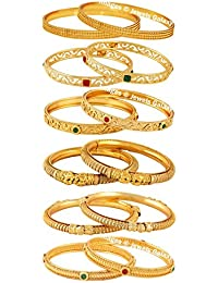 Jewels Galaxy Limited Collection Of Delicate Handcrafted Ruby Red-Green, Antique And Plain Gold Plated Stunning Bangles Combo - Pair Of 6