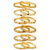 Jewels Galaxy Gold Plated Bangle Set for Women (Multi-Colour)(JG-CB-KBN-8514-1)