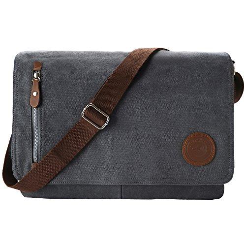 Gibgas 15,6 Zoll Canvas Umhängetasche Herren Laptoptasche Arbeitstaschen Schultertasche Messenger Bag für Arbeit Büro Studenten mit Laptopfach (Grau)