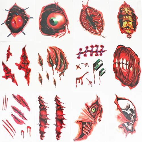 Ru Ye Halloween lebensechte Blutige Hände Fuß Spider Narbe Zombie Vampir Bisswunden Fake blutiges Kostüm Make-up Halloween Dekoration Wunde Gruselverletzung Aufkleber Black 6 Pcs (Wunde Make-up)