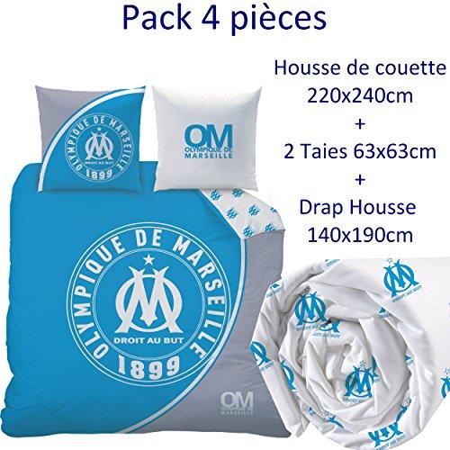 Om - Parure de Lit (4pcs) - Housse de Couette (240x220) + 2 Taies Oreiller (63x63) + Drap Housse...