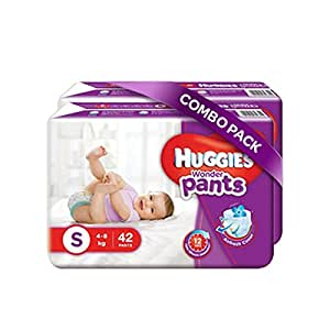Huggies Wonder Pants Small Size Diapers (Pack of 2, 42 Counts per Pack)