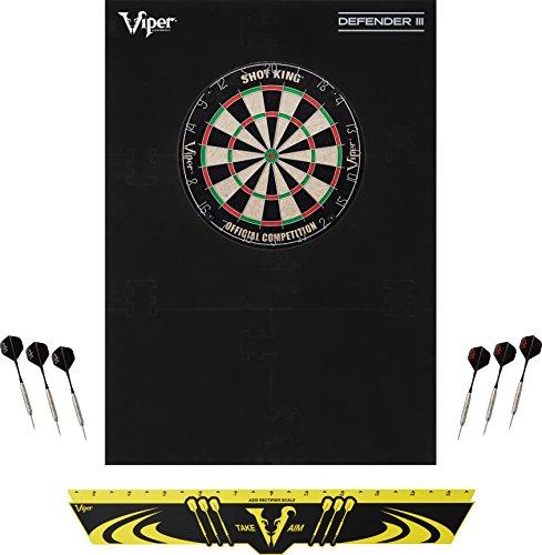Viper Defender III Rückwand & Spitze aus Sisal/Bristle Dartscheibe Bundle: Standard Set (Shot King Dartscheibe, Defender III Rückwand, Edge Überwurf Line)