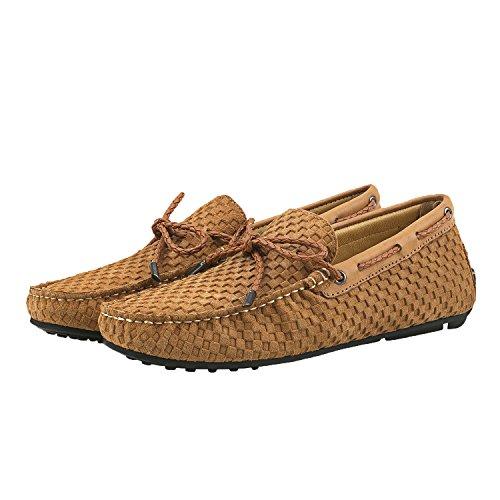 Shenduo Mocassins Pour Homme Cuir - Loafers Confort - Chaussures de Ville D7166 Kaki