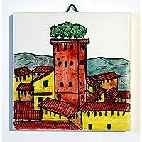 Guinigi turm,Lucca - Keramikfliese,Handverzierte cm 10x10cm,bereit an der Wand befestigt zu werden.Hergestellt in Italien, Toskana, Lucca. Erstellt von Davide Pacini.
