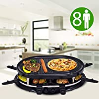 Costway 2 in 1 Raclettes Grill 8 People Indoor Electric BBQ Hotplate 1200W Traditional Swiss Non-Stick Include 8 Mini Coated Pans 8 Wooden Spatulas