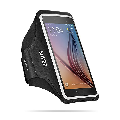 Anker Universal Sport Armband für Handys, Tragehülle für Smartphones mit 4.7 - 5.2 Zoll Bildschirm Inklusive iPhone 7, 6, 6s, Samsung S6 / S6 edge, Samsung S7 und Weitere, mit Schlüssel, Karten und Kopfhörer Kabel Fächern