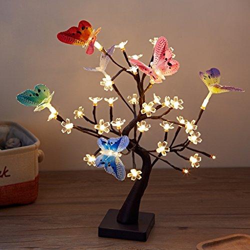 Finether 1,47 Piedi 0,45 m Batteria/USB Alimentato Cherry Blossom Flower Tree Lampada da Tavolo Nightlight con Ramoscelli Regolabili Farfalle Cavo USB per la Festa Natale Home Decor