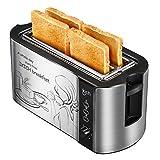 Toaster Holife 4 Scheiben Langschlitz Edelstahl Toaster mit 2 Langen Breiten Schlitzen 1500W, 6 Bräunungsstufen mit Brötchenaufsatz, Krümelschublade, Brotzentrierung, Silber/ Schwarz
